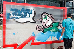 Daniel Ihrke | Rugby87 - Graffitiauftrag | Graffiti Workshop | Cellograff | Streetart - Berlin HBF