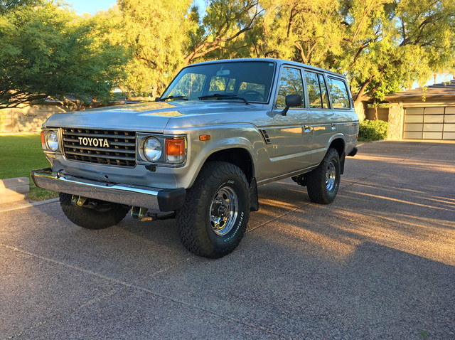 "1985 Toyota Land Cruiser FJ60 in Metallic Blue with an Old Man Emu 2.5"" lift kit.  ALL Original with 161,000 miles. #ForSale #ToyotaLandCruiser #FJ60 #4x4 #Toyota #FJ62 #OldManEmu #BFGoodrich #Original #Factory #CorsettiCruisers"