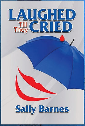 A photo of the book cover for Laughed Till They Cried, featuring a large blue umbrella and a pair of smaily red lips.
