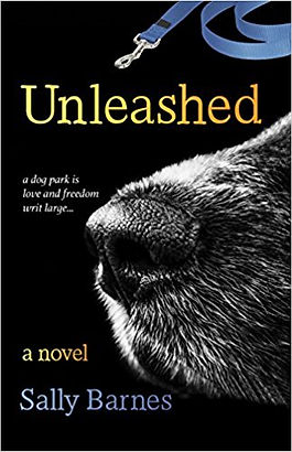 A photo of the Unleashed book cover featuring the greying nose of a black dog and the phrase, a dog park is love and freedom writ large.