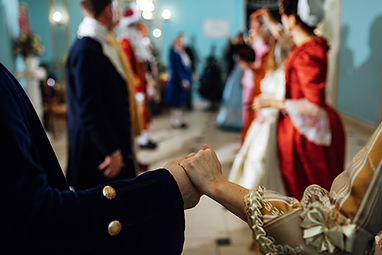 costumed ball in medieval magnificent dresses of rich ladies, performance art historical dances.jpg