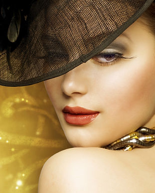 Fashion Beautiful Woman over luxury gold