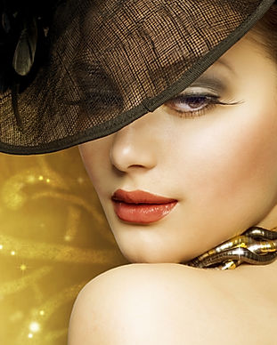 Fashion Beautiful Woman over luxury gold