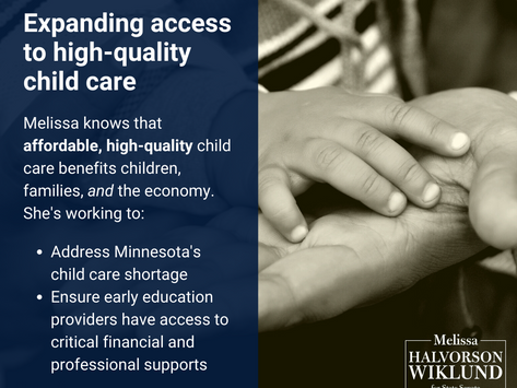 Melissa works to strengthen our child care system in Minnesota