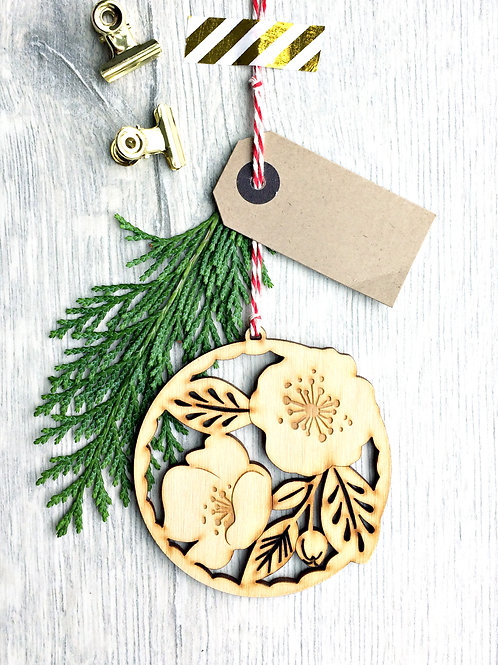 laser Cut Winter Rose Wooden Christmas Ornament Plastic Free Eco Friendly Bauble