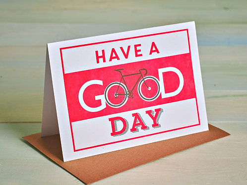 Have a Good Day Cycling Card, A6 Risograph Greeting Card (Blank Inside)