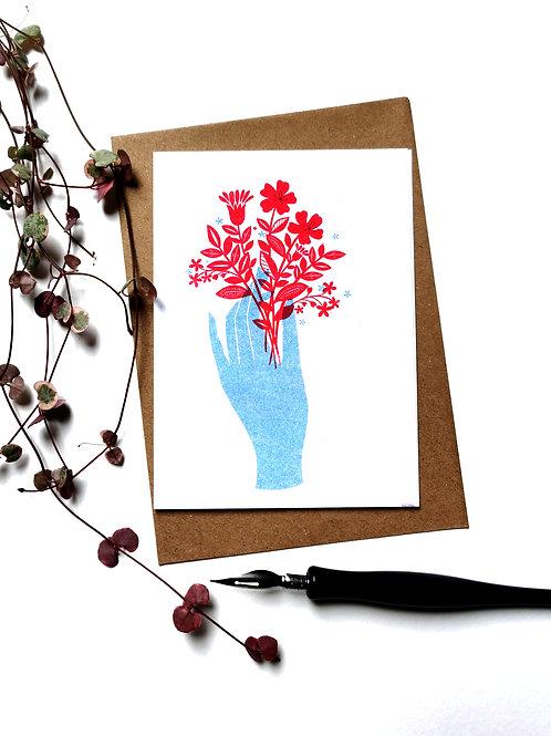 A6 Risograph Botanical Greeting Card (Blank Inside)