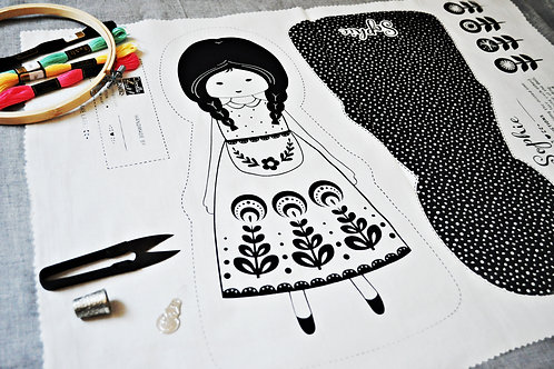 Whimsical Doll Hand Embroidery Pattern, Cut & Sew Hand Stitch It Pattern