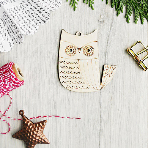 Laser Cut Owl Wooden Christmas Ornament, Plastic Free Eco Friendly Bauble