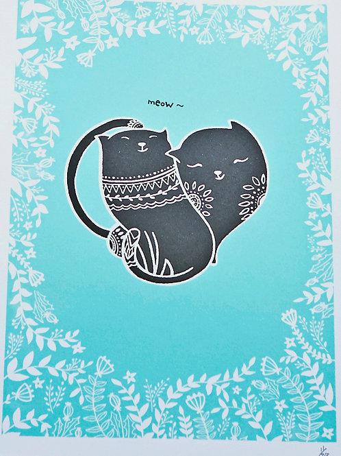 Cat Lovers A5 Limited Edition Silkscreen Cat Art Print