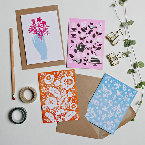 Pack of 4 x A6 Risograph Blank Greeting Cards, Botanical Birthday Cards,