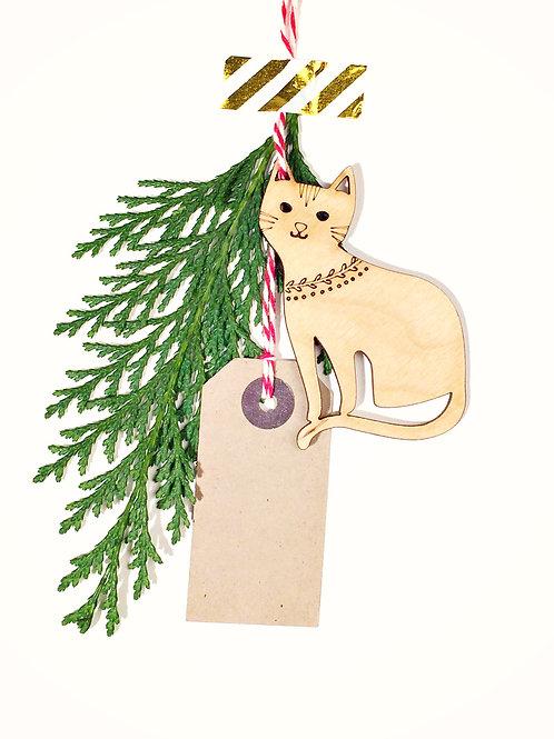 Laser Cut Cat Wooden Christmas Ornament,  Plastic Free Eco Friendly Bauble