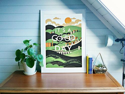 Cycling Art Print - It's A Good Day A2 Silkscreen Print (Seconds, Test Print)