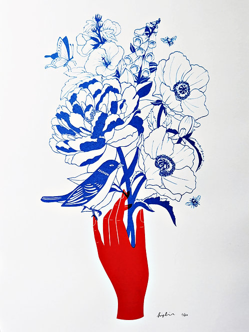 Summer in Bloom - A3 Silkscreen Botanical Poster, Limited Edition Screen Print