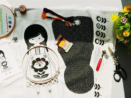 Hand  Embroidery Pattern, Fabric Doll Cut & Sew Hand Stitch It Pattern (Seconds)