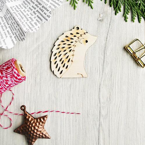 Laser Cut Hedgehog Wooden Christmas Ornament, Plastic Free Eco Friendly Bauble