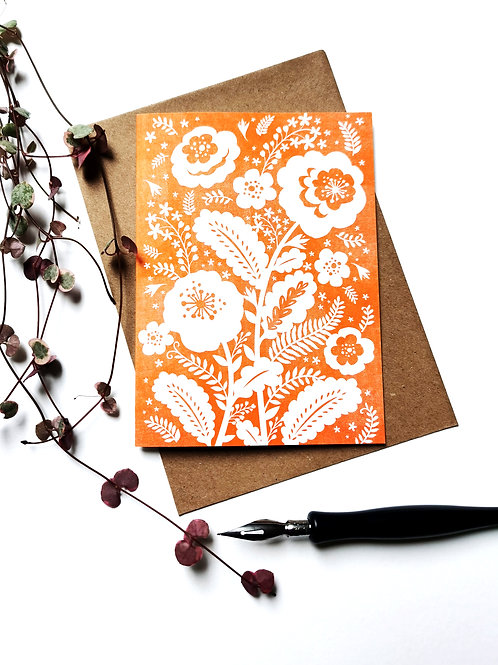 A6 Risograph Orange Folk Flowers Greeting Card (Blank Inside)