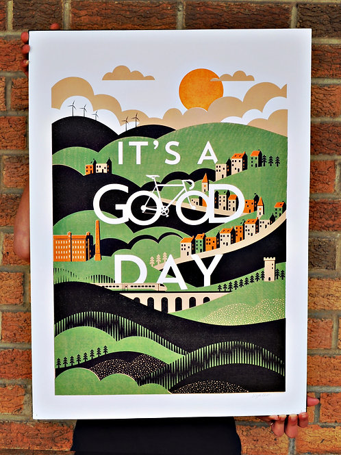 Contemporary  Cycling Poster, Limited Edition A2 Art Print -It's A Good Day