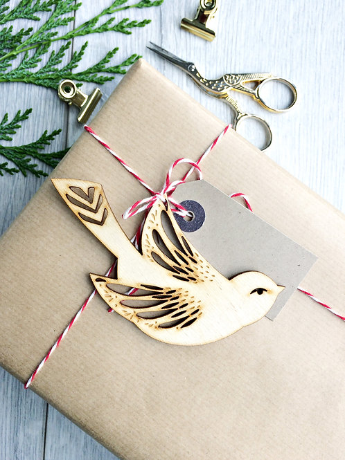 Laser Cut Song Bird Wooden Christmas Ornament,  Plastic Free Eco Friendly Bauble