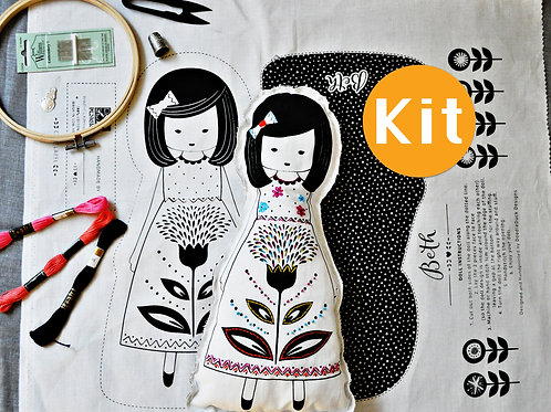Fabric Doll Cut & Sew Hand Embroidery Starter Kit with Patterns and Instructions