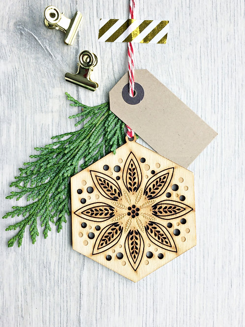Laser Cut Snowflake Christmas Wooden Ornament,  Plastic Free Eco Friendly Bauble