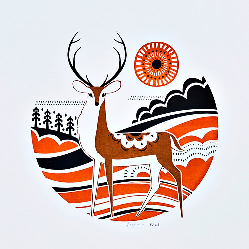Red Stag - Silkscreen Art Print, Limited Edition Screen Print
