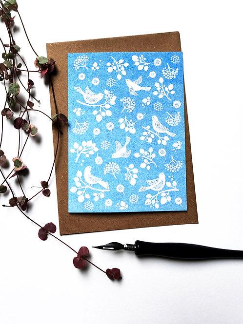 A6 Risograph Little Blue Bird Greeting Card (Blank Inside)