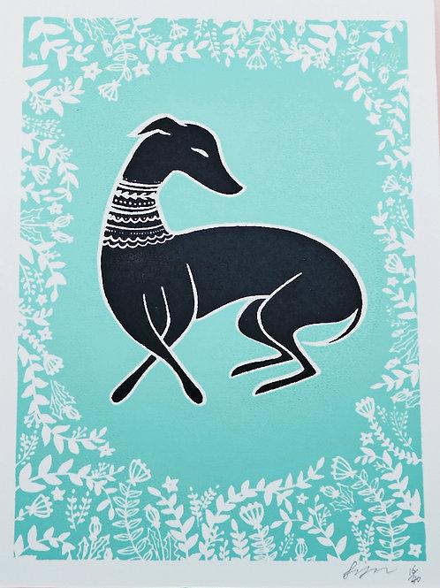 Black Whippet A5 Limited Edition Silkscreen Greyhound Art