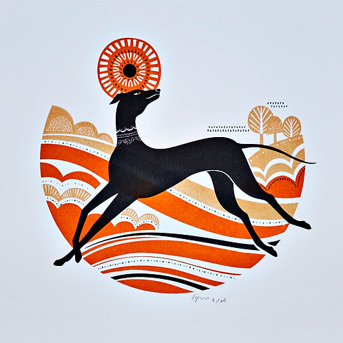 Happy Greyhound - Silkscreen Art Print, Limited Edition Screen Print