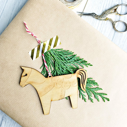 Laser Cut Dala Horse Wooden Christmas Ornament, Plastic Free Eco Friendly Bauble
