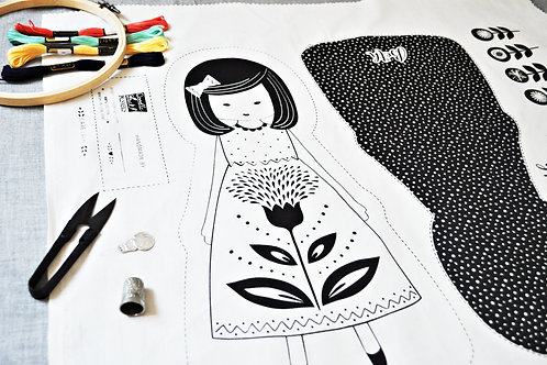 Hand  Embroidery Pattern, Fabric Doll Cut & Sew Hand Stitch It Pattern (Seconds)