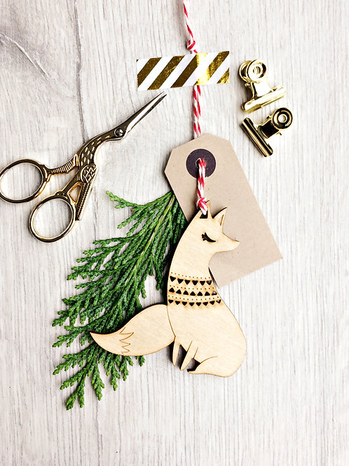 Laser Cut Fox Christmas Wooden Ornament Eco Friendly sustainable Christmas Gift