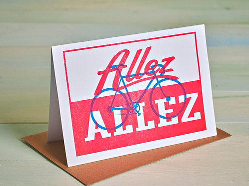 Allez Allez Cycling Card, A6 Risograph Greeting Card (Blank Inside)