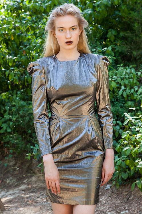 Calliste puff sleeve metallic dress