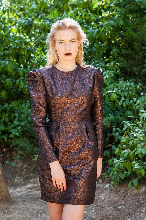 Carya puff sleeve brocade dress