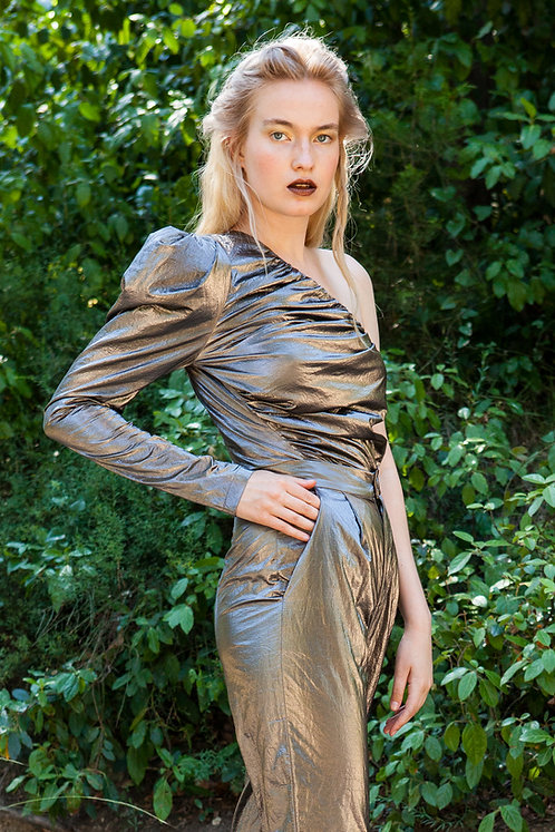 Calliste one shoulder metallic top