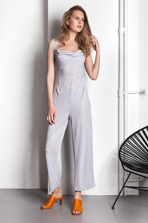 Draped grey-silver jumpsuit