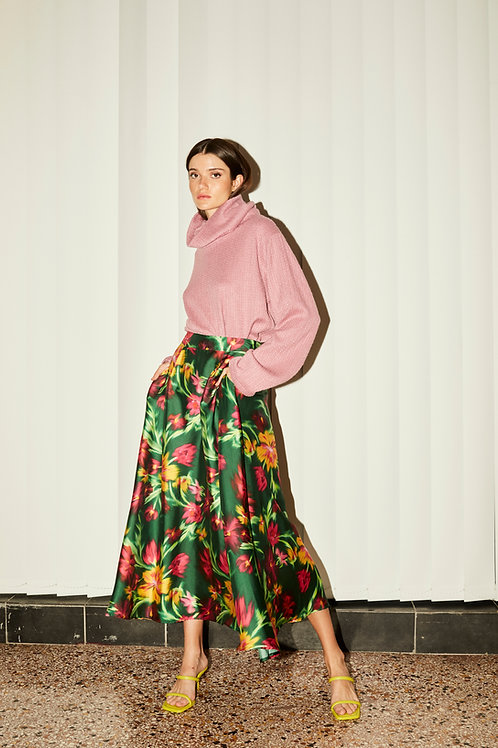 Isabella wide satin skirt