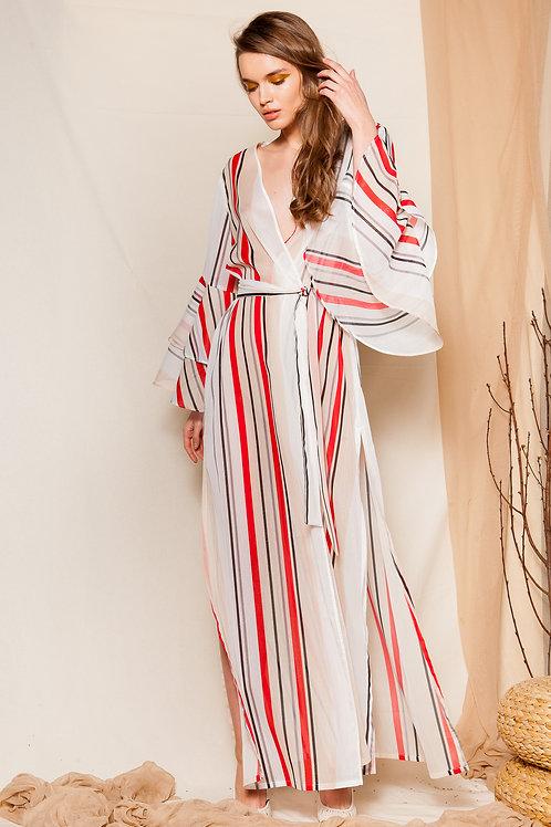 Gostanza ruffled sleeve kimono dress