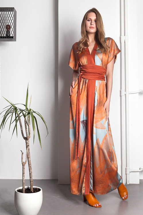 Geometric floral exclusive printed satin maxi dress