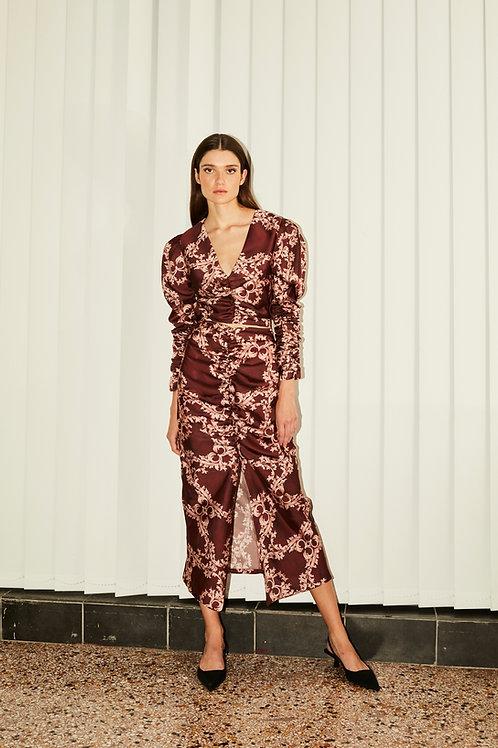 Valentina draped burgundy skirt