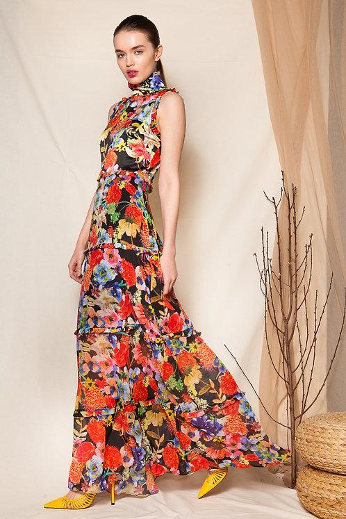 Lucrezia ruffled high neck dress