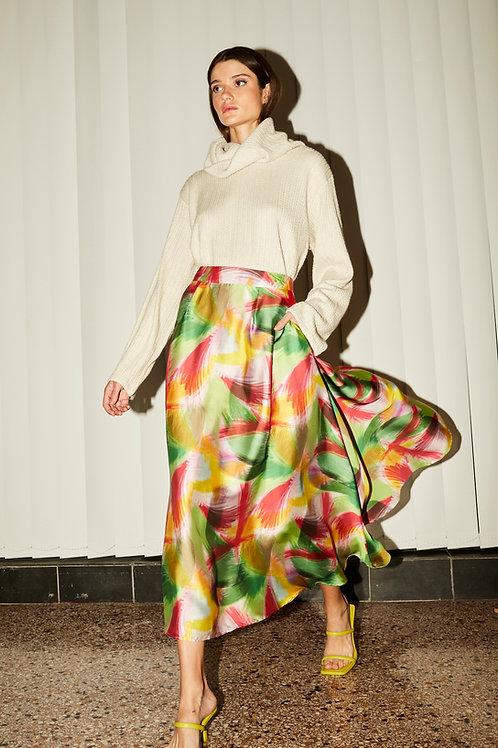 Yolanda wide satin skirt