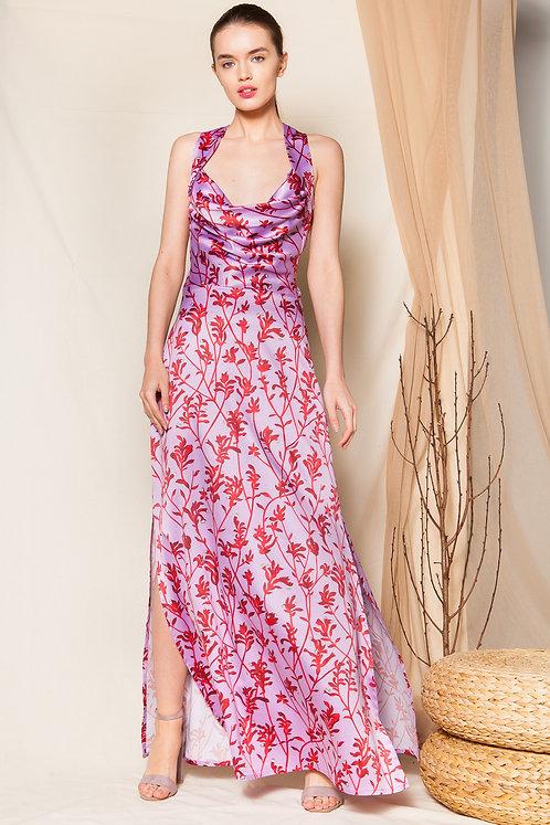 Veronica satin draped dress