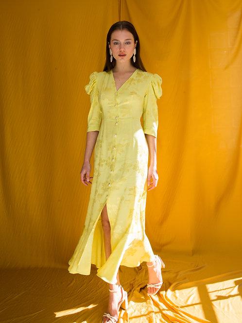 Cynthia puff sleeve button dress