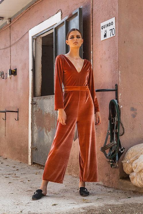 Gabriella velvet orange jumpsuit