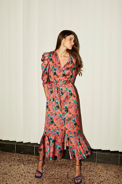 Natalia puff sleeve button dress