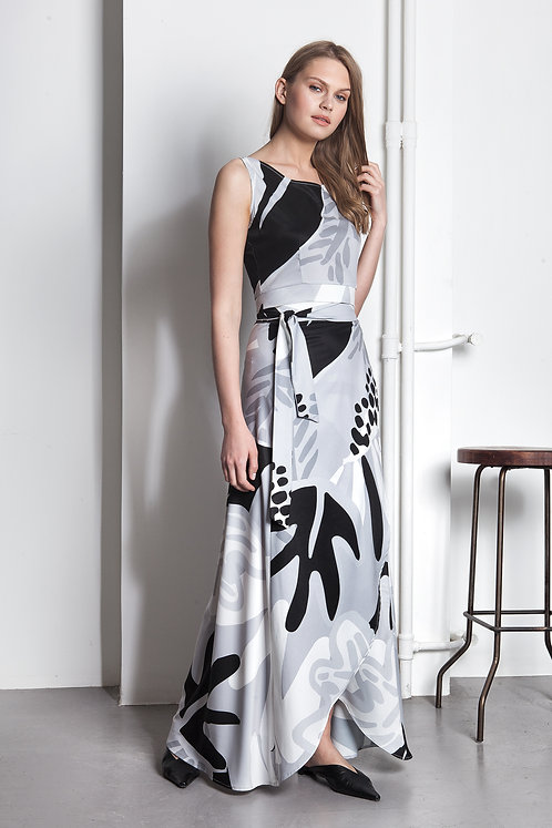 Abstract floral exclusive printed maxi wrap skirt