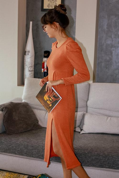 Klaudia puff sleeve knitted dress