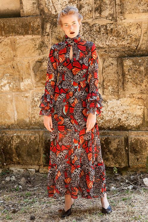 Dryope ruffled open chest dress